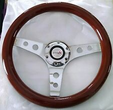 "13"" Mahogany Wood Steering Wheel chrome 3 spoke with holes 2-3/4"" momo bolt pat."
