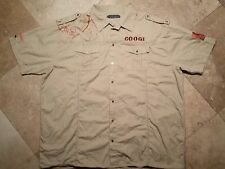 COOGI Button Up Short Sleeve Embossed Graphic Shirt 100% Cotton Tan Big&Tall 5XL