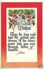 Original Vintage 1907-1915 PC- Holly- New Years Wishes- PM 1912