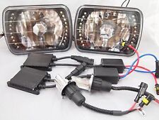 86-95 JEEP WRANGLER  YJ 6000K HID BI-XENON LED BLACK HEADLIGHTS H