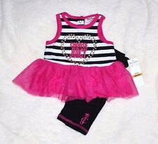 Choose Juicy COUTURE Girl's 3-6 mo NB Tunic Top Shirt Dress Leggings Outfit Set