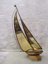 "Mario Jason Brass Sailboat 20.5"" Sculpture Onyx Base, Signed A5730"