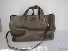 $1000 GRAY LEATHER HANDBAG L Purse Gold Tone Hardware Pebbled Leather Large EUC