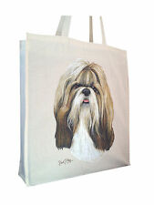 Shih Tzu (b) Cotton Shopping Bag Tote with Gusset and Long Handles Perfect Gift