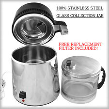New 2016 Stainless Steel Water Distiller w/ Glass Collection Jar FREE 2nd Filter