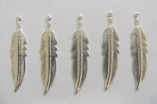5 Silver Plated Feather/Leaf Charms - 30 mm