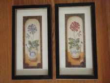 Set of 2 picture of Clay pots with purple and red flowers