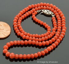 ANTIQUE VICTORIAN UNDYED SALMON RED CORAL BEAD NECKLACE 8.9 G, STERLING CLASP