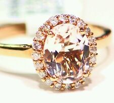 1.79CT 14K ROSE GOLD NATURAL MORGANITE CUT WHITE DIAMOND VINTAGE ENGAGEMENT RING
