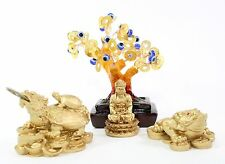 Set of 4~Fengshui Gold Buddha Money Frog Money Tree Dragon Turtle Home Decor Gif