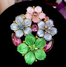 PASTEL FLOWERS & RHINESTONES BROOCH Vintage Pin Goldtone Purple Pink Green