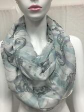 All Season Light Soft Jersey Infinity Circle Eternity Scarf Light Sea Gray