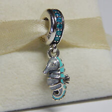 Pandora 791311MCZ Tropical Seahorse Teal Enamel Dangle Charm Box Include