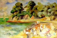 "Auguste Renoir Replica Oil Painting -The Beach at Pornic - size 36""x24"""