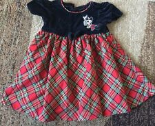 Disney Store Minnie Mouse Holiday Christmas Plaid Dress 18m Black Velour
