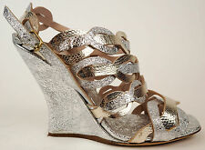 DRIES VAN NOTEN Silver & Gold Metallic Leather Wedge Sandals Heels 40 9.5 $1165