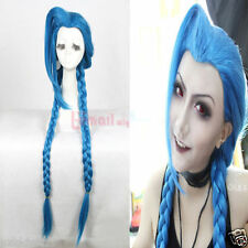 LOL New Hero Jinx 90cm long blue braid cosplay Party Hair wig
