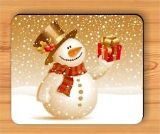 CHRISTMAS SNOWMAN SMILING WITH GIFT MOUSE PAD -jhg0Z
