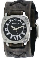 Nemesis FXB066K Men's Black Dial Grey Wide Leather Cuff Band Watch
