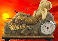 Tischuhr Reise Uhr Kaminuhr Polystein Eos GOLD farbig Kamin Uhr Frau Zeitzeugin