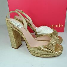 KATE SPADE Briana Gold Slingback High Heel 8 M NEW $378