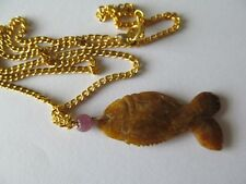 ANITIQUE GOLDEN BROWN CARVED JADE KIO LUCKY FISH w/BEAD PENDANT GOLD NECKLACE