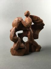 Vintage Mid Century Abstract Modern Cubist Wood Sculpture Signed