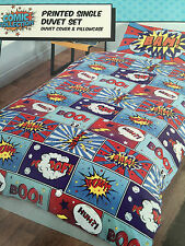 New Boys Girls Comic Bam Boo Zap Wow Word Speech Caption Single Duvet Cover Set