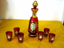 VINTAGE MURANO GLASS SET of RED&GOLD LUSTRE DECANTER and 6xGLASSES     (0.8/97A)