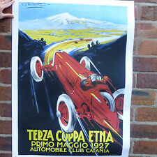 Terza Coppa Etna 1927 Vintage car poster racing motorsport - A4