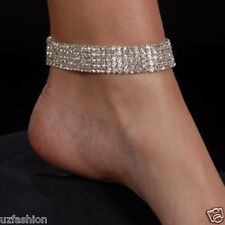 5 ROW AUSTRAIN RHINESTONES DIAMANTE STETCH ANKLET @UK