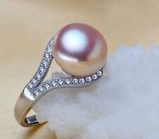 South sea genuine gold pink pearl ring huge 11mm AAAA Size can be resized