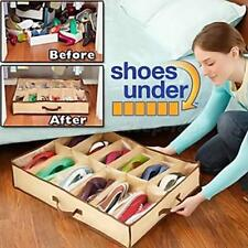 12 Pairs Shoes Storage Organizer Holder Intake Under Bed Closet Fabric Bag Box
