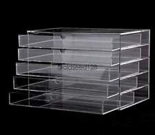 New Makeup Cosmetics Organizer Clear Acrylic 5 Drawers Display Box Storage US