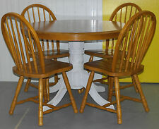SOLID PINE ROUND DINING TABLE AND FOUR WINDSOR BACKED DINING CHAIRS BARGAIN!!!