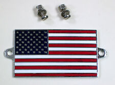 Enamel & Chrome Classic Car Badge, American USA Stars and Stripes Flag