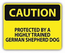 "Caution Protected By Trained German Shepherd Car Bumper Sticker Decal 5"" x 4"""