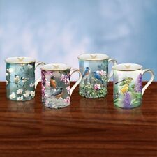 Set of Four Mugs / Cups with Birds and Flowers Susan Bourdet Bradford Exchange