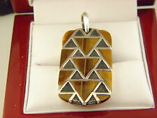 David Yurman 'Frontier' Tag Pendant with Tiger Eye  in Sterling Silver.