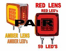 "LED Square Double Face ""HALO"" Signal Light  (Pair)  SEMI-TRUCK FENDER"