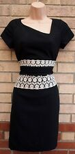 TINTORETTO BLACK WHITE CROCHET INSERTED WAISTBAND PENCIL BODYCON TUBE DRESS 10 S
