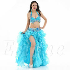 Professional Belly Dance Costume 12 Colors Waves Skirt Dress with slit Skirt New