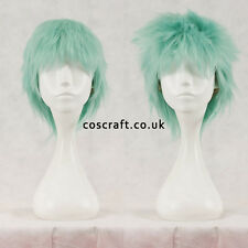Short layered fluffy spikeable cosplay wig in pale teal, UK seller, Jack style