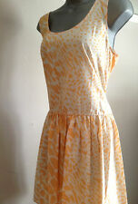 Peach & White Animal Print Dip Hem Sleeveless Dress - UK Size 14