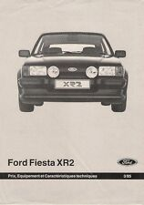 Ford Fiesta XR2 Mk2 1985 Swiss Market Specification Leaflet Brochure