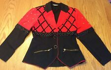 Vintage Women's Jacket Blazer Size Large Fitted Red Black 80s 90s Beaded Studded