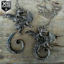 """2.75"""" Coiled Dragon with an Edge Pandant Designed Knife with Chain"""