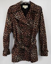 Michael Kors Trench Coat Ladies XL Belted Brown Jacket Leopard Buckles Designer