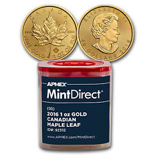 2016 1 oz Gold Maple Leafs (10-Coin MintDirect® Tube) - SKU #92512