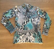 RED Women's Long Sleeve Stretchy Mock Neck Shirt Multicolored Print Sz:Small